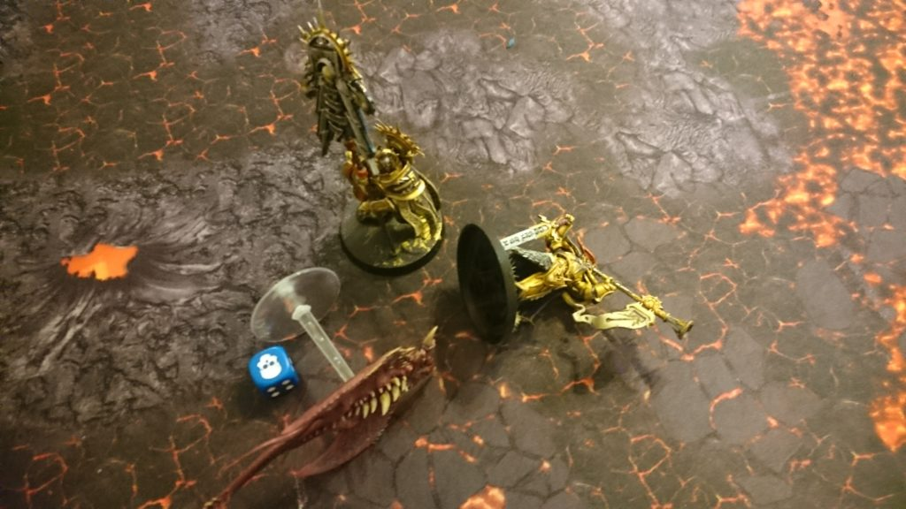 The last Screamer brings the Heraldor down with its final attack before being slain by the Knight-Vexillor. The Stormcast have survived the ambush at the cost of two generals and over 85% of their forces.