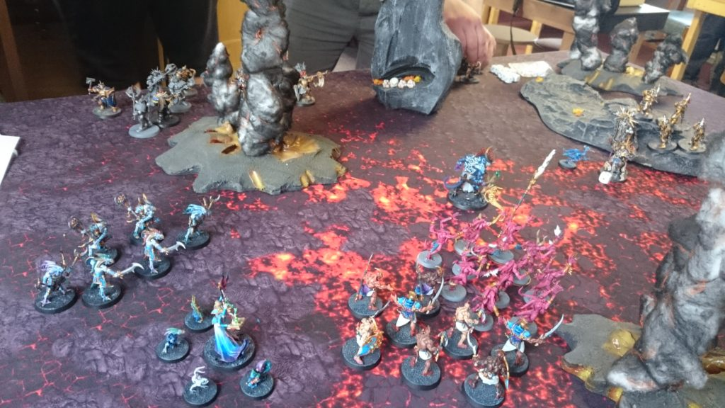 At the beginning of the Stormcast turn, their reinforcements arrive on a side of the board secretly chosen before the battle began.