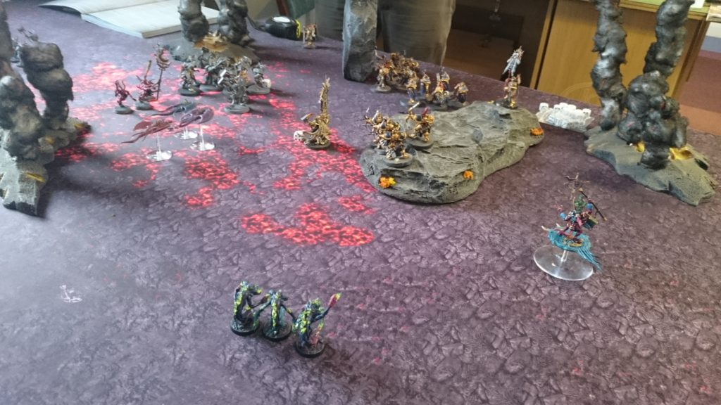 The Screamers turn to intercept the Retributors as the Herald and Flamers turn on the Judicators. Both units of Liberators roll sixes on their running moves, sprinting into play from the edge of the board.