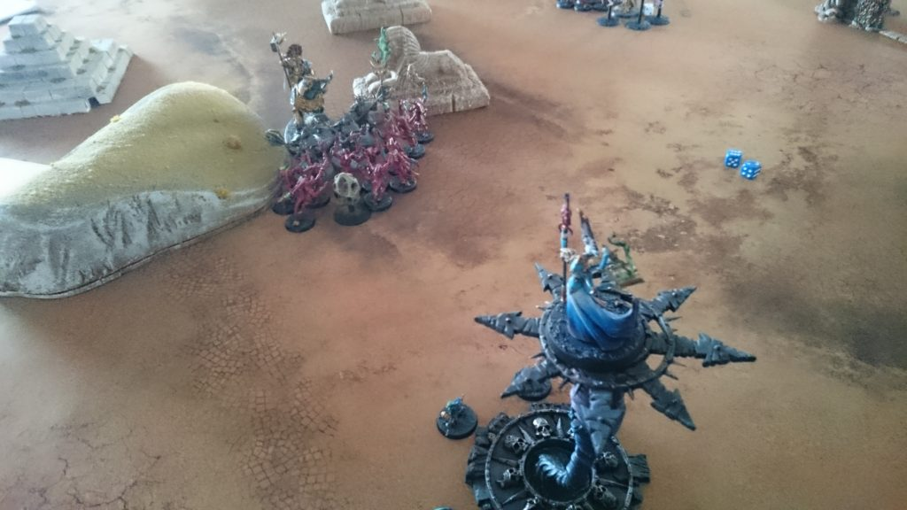 The fresh Horrors finally reach the Lord-Celestant and the surviving Retributors, but they're unable to dislodge them from the Sigmarite shard. The god-king's power begins to surge across the battlefield as Tzeentch's grip weakens.